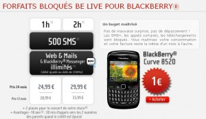 NRJ Mobile Bloqué BeLive BlackBerry
