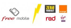 Logo Free Mobile Virgin Orange Red Zéro Forfait