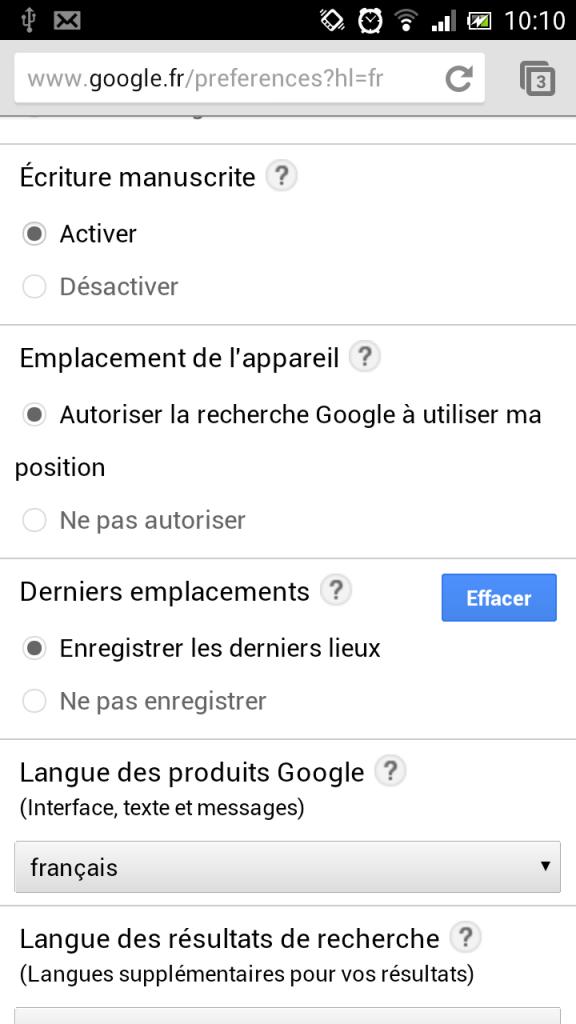 Activez l'option Ecriture manuscrite dans le menu Paramètres de Google