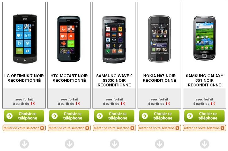 Comparez 5 smartphones à 1€ seulement
