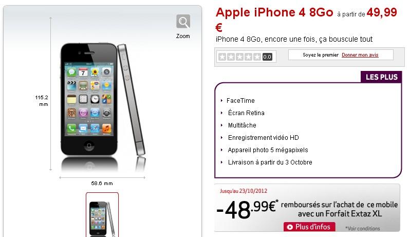 iPhone 4 1 euro Virgin Mobile