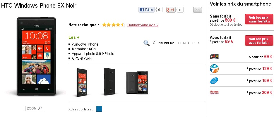 bon plan le htc windows phone 8x au meilleur prix meilleur mobile. Black Bedroom Furniture Sets. Home Design Ideas