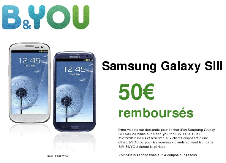 50 sur le samsung galaxy s3 avec b you meilleur mobile. Black Bedroom Furniture Sets. Home Design Ideas