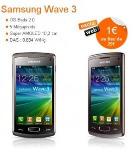 Baisse de prix : le Samsung Wave 3 � 1� chez Orange
