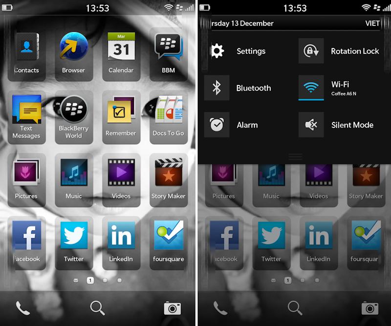 Ecran d'accueil BlackBerry 10
