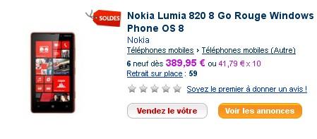 Nokia Lumia 820 PriceMinister