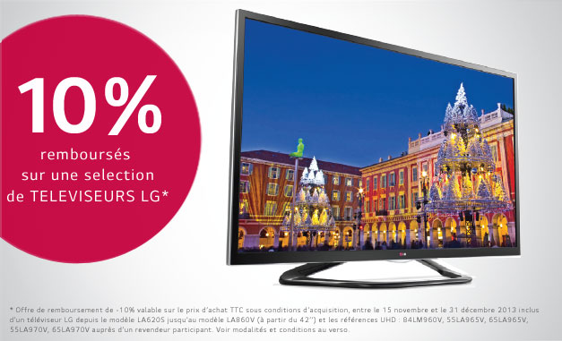 bon plan 10 rembours s sur l 39 achat d 39 une tv lg meilleur mobile. Black Bedroom Furniture Sets. Home Design Ideas