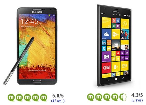 Samsung Galaxy Note 3 Nokia Lumia 1520 avis