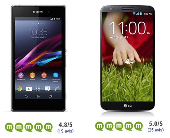 Sony Xperia Z1 LG G2 avis