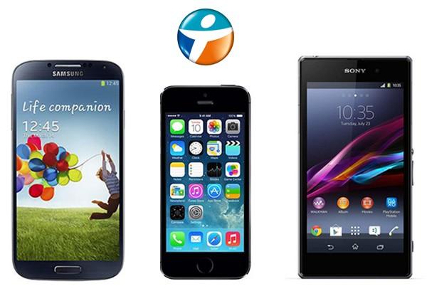 iPhone 5S Samsung Galaxy S4 Sony Xperia Z1