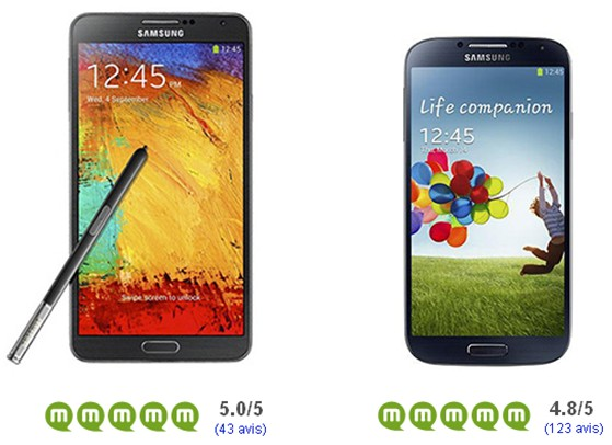 Samsung Galaxy Note 3 Galaxy S4 avis