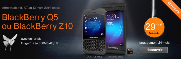 BlackBerry Q5 et Z10 Orange