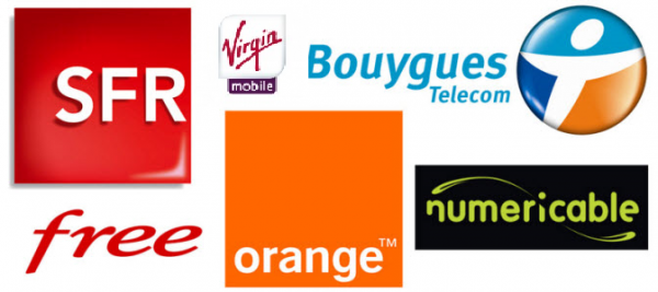 SFR, Free, Virgin, Orange, Bouygues, Numericable et Virgin