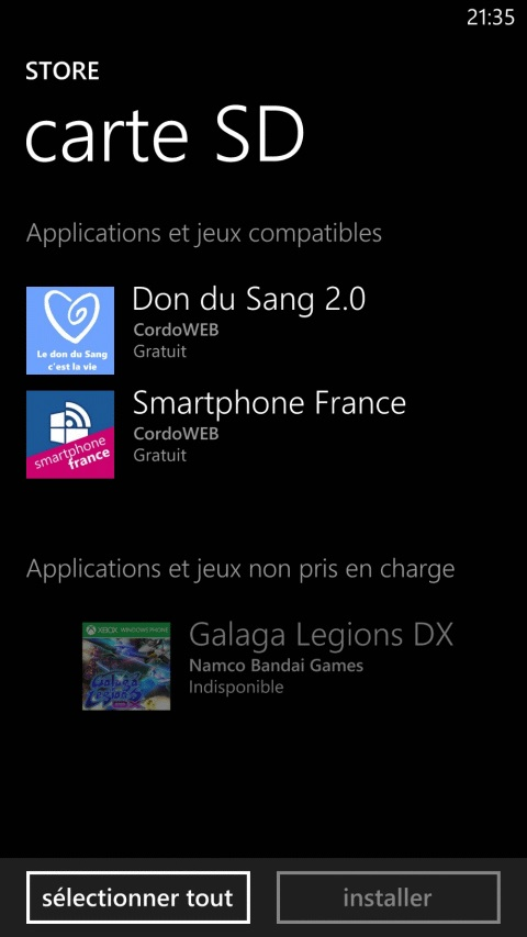 Windows Phone : installer ses applications depuis la carte mémoire