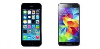 Comparatif iPhone 5S vs Samsung Galaxy S5