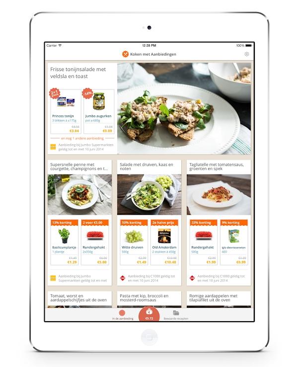 koken met aanbiedingen une application cuisine. Black Bedroom Furniture Sets. Home Design Ideas