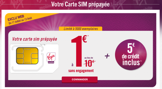 Virgin Mobile: offre carte SIM pr�pay�e � 1�