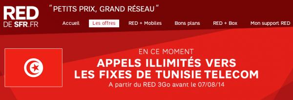 Red de SFR : Appels illimités vers Tunisie Telecom offerts