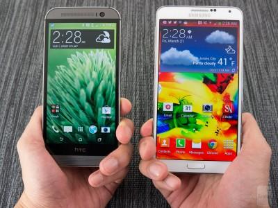 Comparatif Samsung Galaxy Note 4 VS HTC One M8