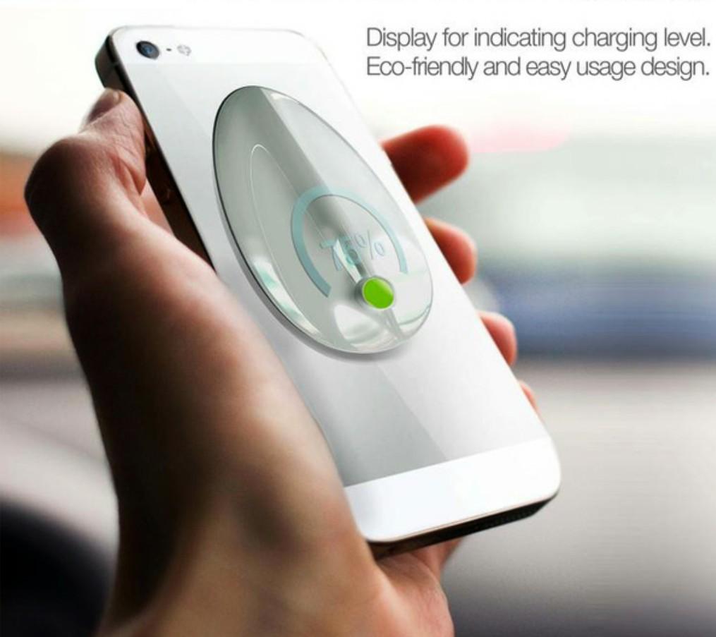 recharger smartphone feuille