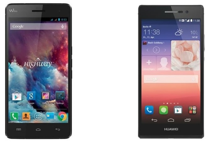 Huawei Ascend P7 Wiko Highway 4G vs