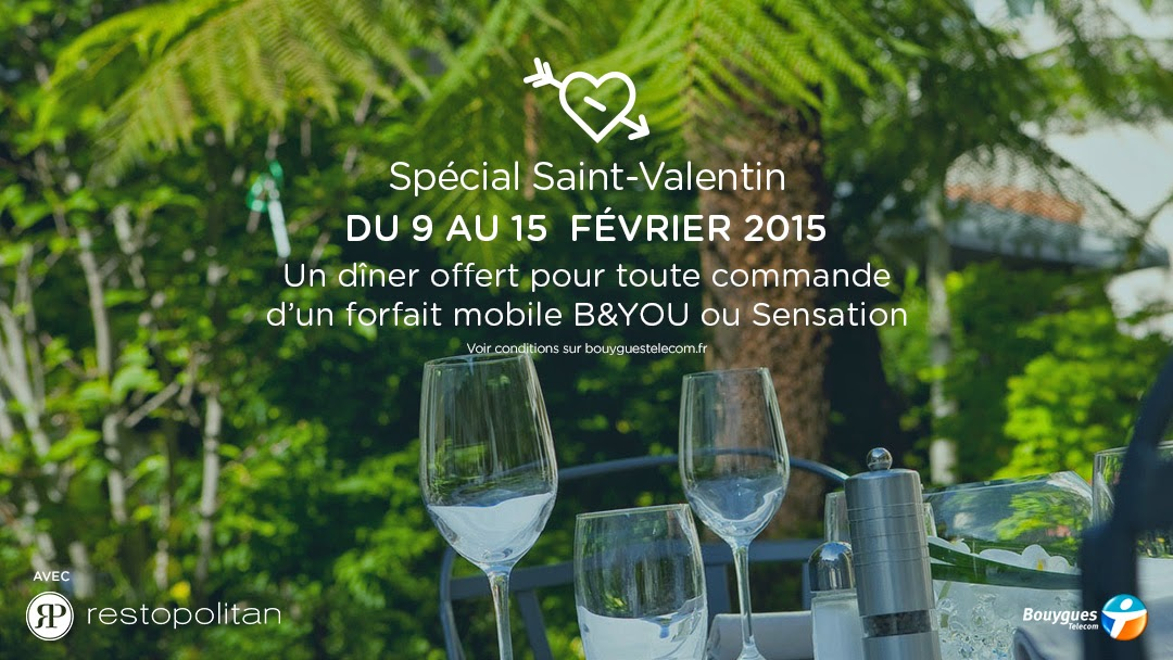 bouygues telecom un d ner gratuit pour la saint valentin meilleur mobile. Black Bedroom Furniture Sets. Home Design Ideas