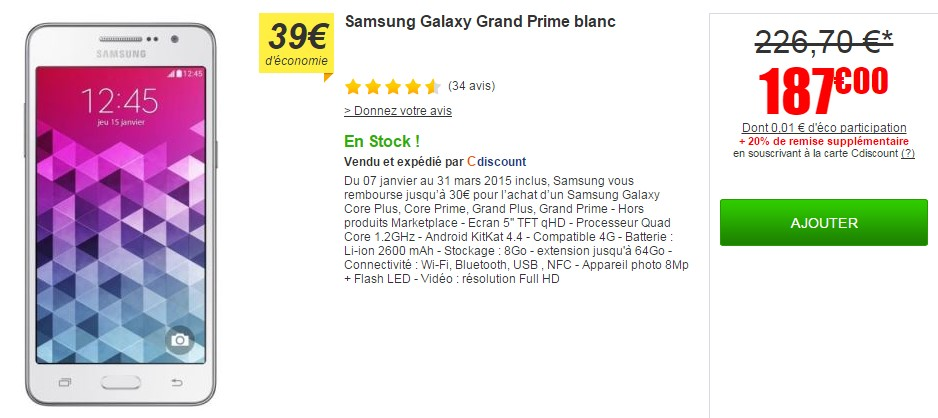 samsung galaxy grand prime cdiscount