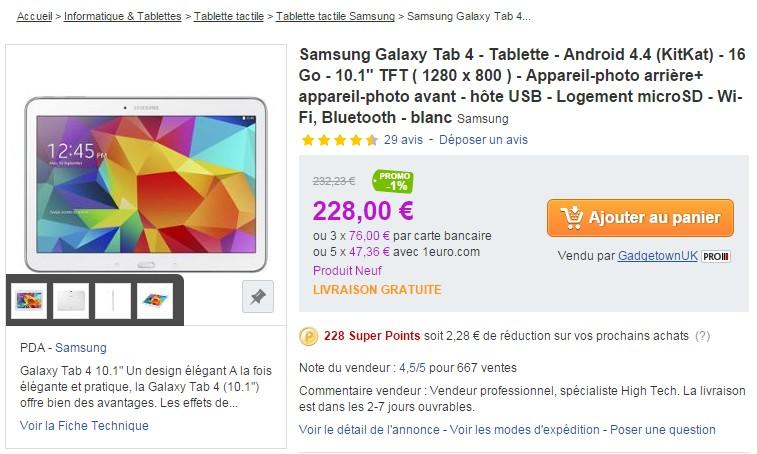 samsung galaxy tab 4 priceminister
