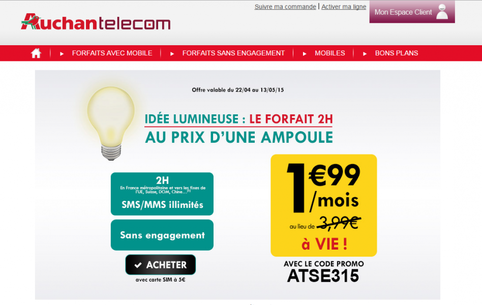 auchan telecom le forfait 2h au prix d 39 une ampoule meilleur mobile. Black Bedroom Furniture Sets. Home Design Ideas