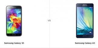 Samsung Galaxy S5 A5 comparatif