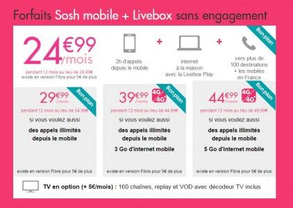 Sosh rembourse 5 euros par mois sur les forfaits mobiles avec Livebox !