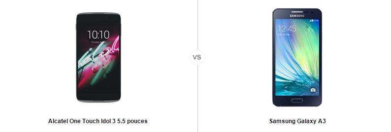 Alcatel One touch idol 3 5.5 vs Samsung Galaxy A3, le comparatif