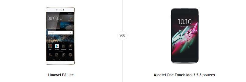 Huawei P8 Lite vs Alcatel One touch Idol 3 5.5, le comparatif