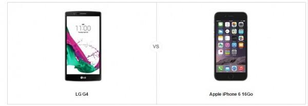 LG G4 vs Apple iPhone 6, le comparatif