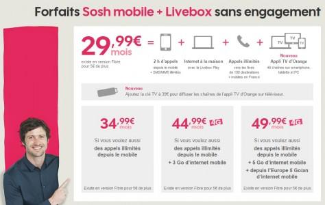 Sosh : des combos forfaits mobiles + livebox � partir de 29,99 euros par mois !