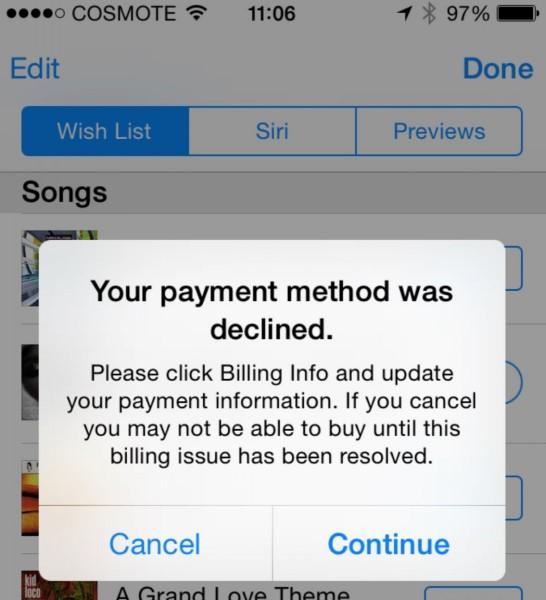 grecs ne puevent plus payer application apple