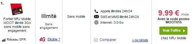 nrj mobile forfait woot illimité 3 Go