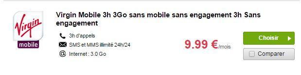 virgin mobile 3h 3 Go à 9,99 euros par mois