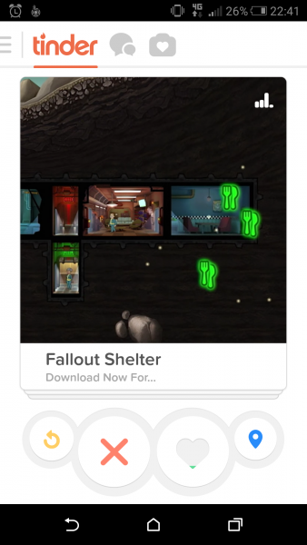 fallout shelter fait sa pub sur l 39 application tinder meilleur mobile. Black Bedroom Furniture Sets. Home Design Ideas
