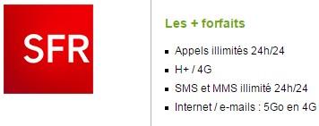 Forfait SFR Power illimité 5Go avec mobile sans engagement