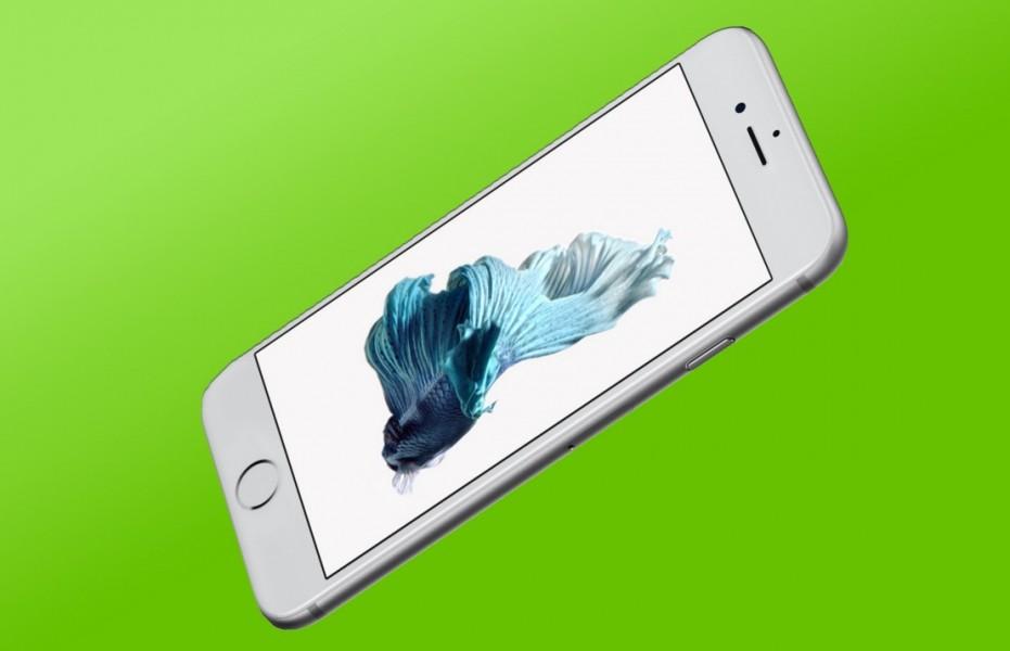 iphone 6s sous fond vert