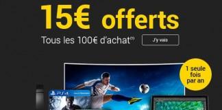 15€ tous les 100€ d'achat Fnac