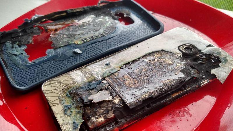 Samsung Galaxy S6 Edge Plus qui a explosé