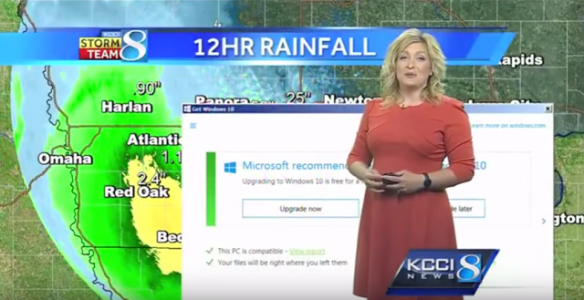 Windows 10 interrompt un bulletin m�t�o en plein direct