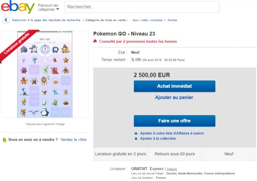pokémon go vente ebay