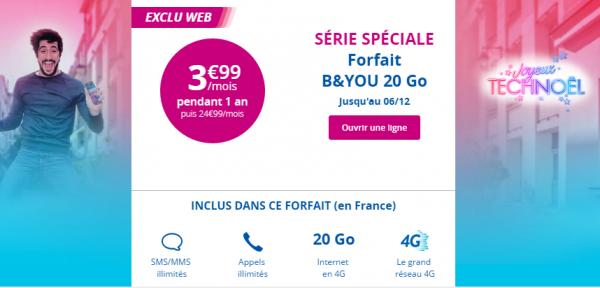 Derniers jours pour profiter de l'offre B&You à 3,99 euros avec 20 Go !