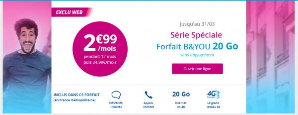 B&YOU : l'offre 20Go à 2.99 euros se prolonge !