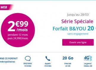 Forfait B&You 20Go 2.99 euros