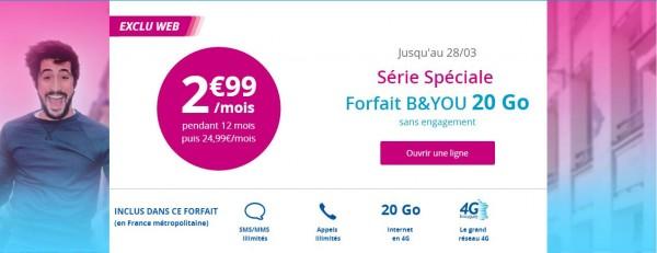 La série spéciale 20Go à 2.99 euros de B&YOU prendra fin dans quelques heures !