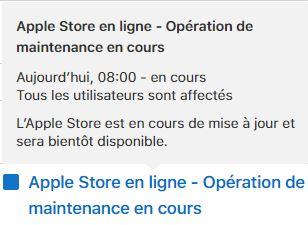 Opération de maintenance sur l'Apple Store en ligne